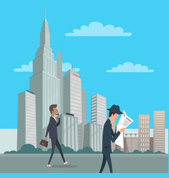 Two gentlemen go on business downtown in new york vector