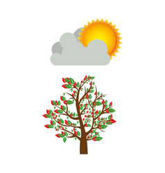 Colorful spring picture with leafy tree with cloud vector
