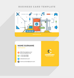 Creative business card template with flat line vector