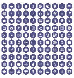 100 beauty product icons hexagon purple vector