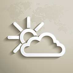 Sun with cloud weather icon vector