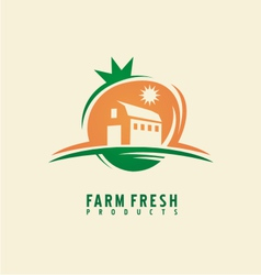 Farm fresh product label design layout vector