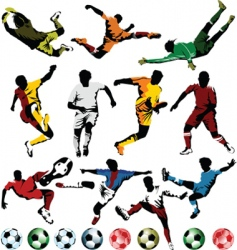 Soccer players collection vector
