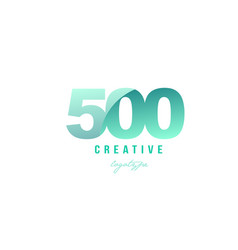500 green pastel gradient number numeral digit vector