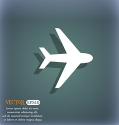 Plane icon symbol on the blue-green abstract vector