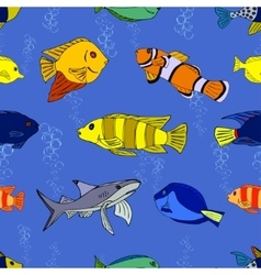 Seamless pattern tropical fish vector