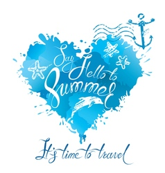 Summer heart blue 380 vector