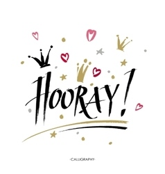 Hooray - modern calligraphy text handwritten with vector
