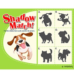 Game template with shadow matching dog vector