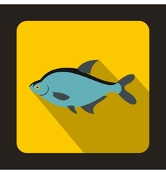 Blue fish icon in flat style vector