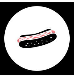 Hot dog sausage and bun food isolated black icon vector
