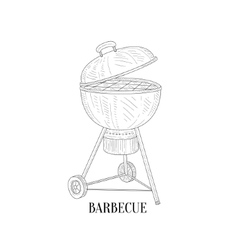 Barbecue outdors grill hand drawn realistic sketch vector