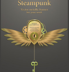 Banner with gears steampunk logo vector