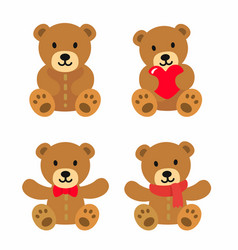 bear toy icon set vector image vector image