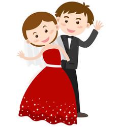 Bride and groom waving hands vector