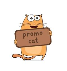 Cartoon promo cat vector image vector image
