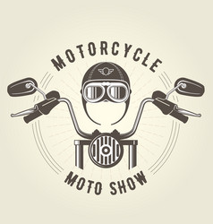 Chopper moto handlebar and vintage helmet vector