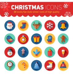 Circle flat christmas and new year icons set vector