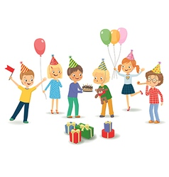 Cute boy celebrating birthday with her friends vector image vector image