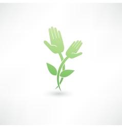 Eco hand icon vector image vector image