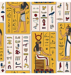 egyptian gods and ancient egyptian hieroglyphs vector image