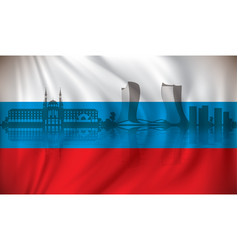 flag of russia with kazan skyline vector image vector image