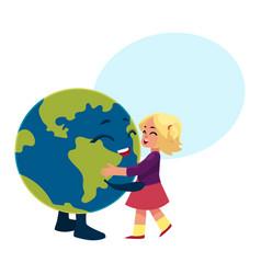Girl dancing with globe earth planet character vector