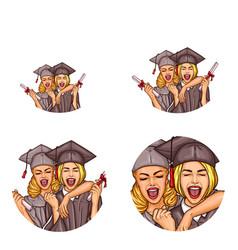 girls graduation party pop art avatar icons vector image
