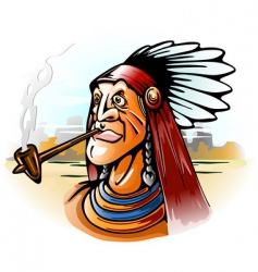 Indian chief smoking tube vector
