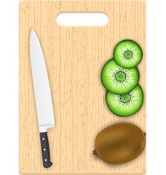 Kiwi slices and knife on the chopping board vector