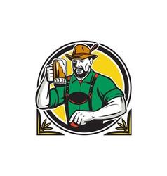 Oktoberfest german beer drinker circle retro vector