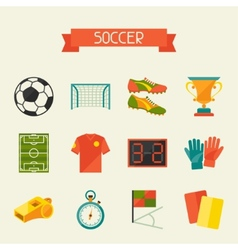 Soccer football icon set in flat design style vector image
