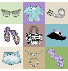Stylish fashion set of womans clothes vector