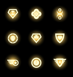 superhero emblem logo or icons on black backdrop vector image