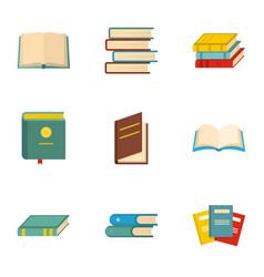 Textbook icons set cartoon style vector