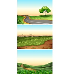 Three scenes with road in countryside vector image vector image