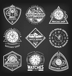 Vintage white clocks repair service emblems vector