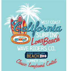 west coast california surfing company vector image