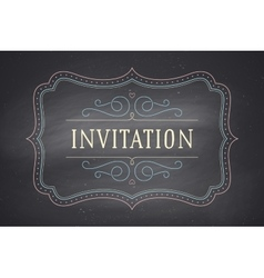 Old vintage frame with text invitation vector