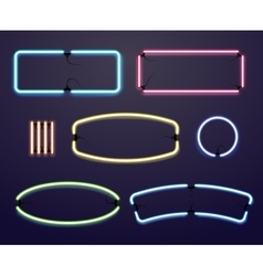 Neon light borders illuminated frames vector