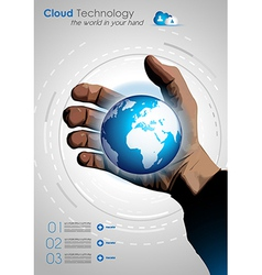 Cloud concept infographics with a real hand vector