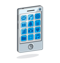 smartphone with options cell phone isolated on vector image