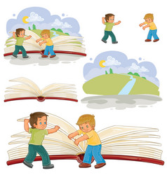 Little boys turn pages great book vector