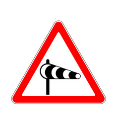 Road sign warning crosswind on white background vector