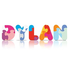 Dylan written with alphabet puzzle vector