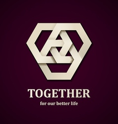 Together paper icon design template vector