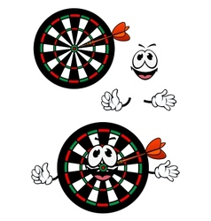 Happy cartoon colorful darts target character vector