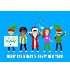 People celebrating christmas vector