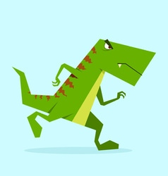 Green dino in action 01 vector