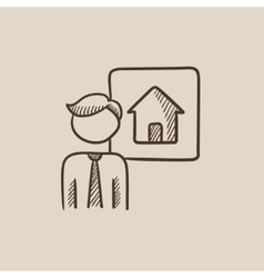 Real estate agent sketch icon vector